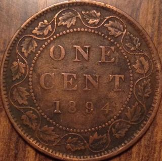 1894 Canada Large Cent Very Good Key Date Penny Not Bad Loook photo