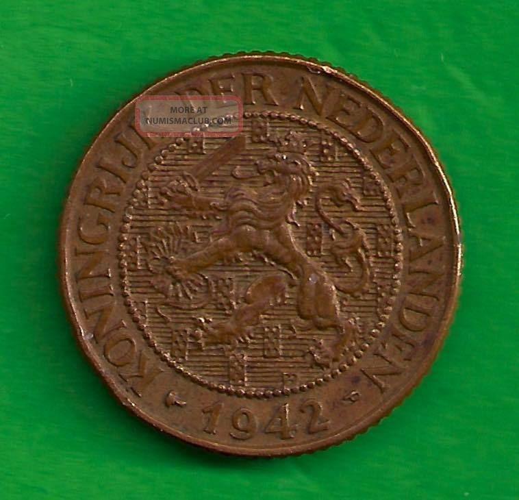 Ww2 Curacao Netherlands Kingdom 1 Cent 1942 P Rampant Lion Obverse Design