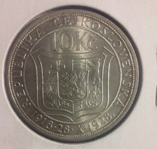 1928 Czechoslovakia 10 Silver Korun Uncirculated 10th Anniversary Commemortive photo
