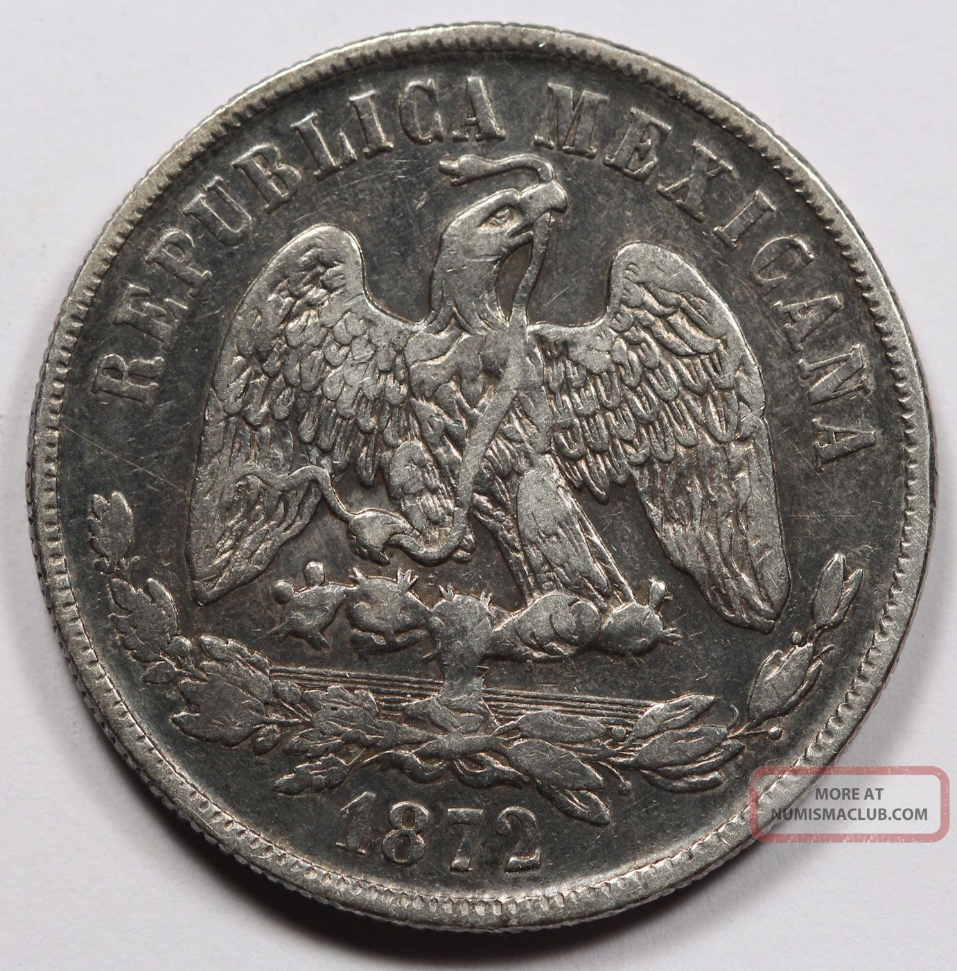 Mexico 1872 Republic Mo M 1 Un Peso Silver Coin Xf Darkly