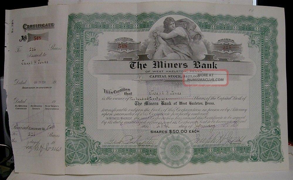 1924 The Miners ' Bank Stock Certificate - West Hazleton,  Pa Stocks & Bonds, Scripophily photo