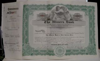 1924 The Miners ' Bank Stock Certificate - West Hazleton,  Pa photo