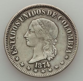 Colombia 1874 Silver 50 Centavos Coin Km 172.  2 photo