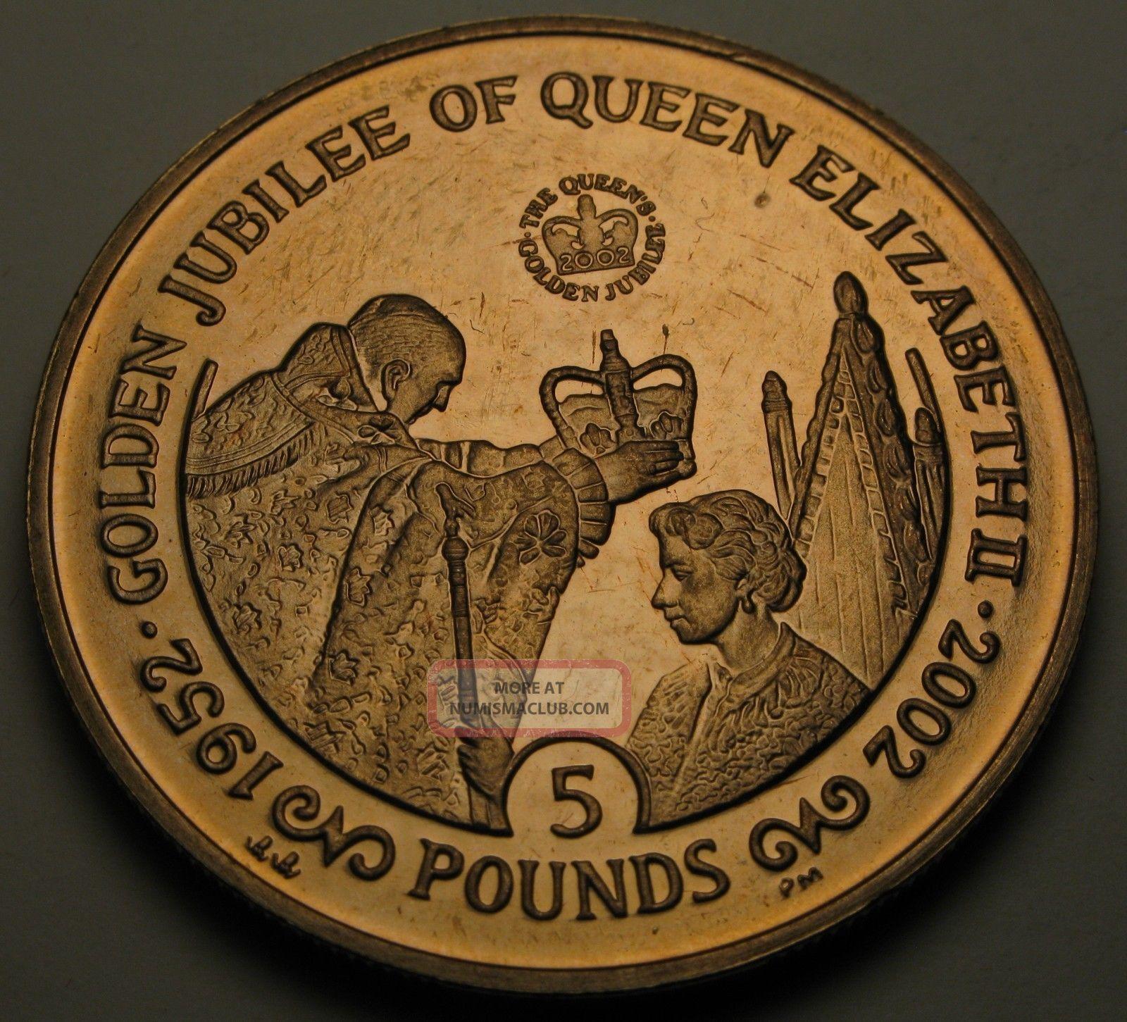 Gibraltar 5 Pounds 2002 - Virenium - Queen ' S Golden Jubilee - Aunc - 660 Europe photo