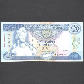 Cyprus 1993 Twenty Pounds Banknote Unc photo