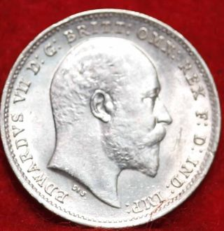 Uncirculated 1902 Great Britain 3 Pence Silver Foreign Coin S/h photo