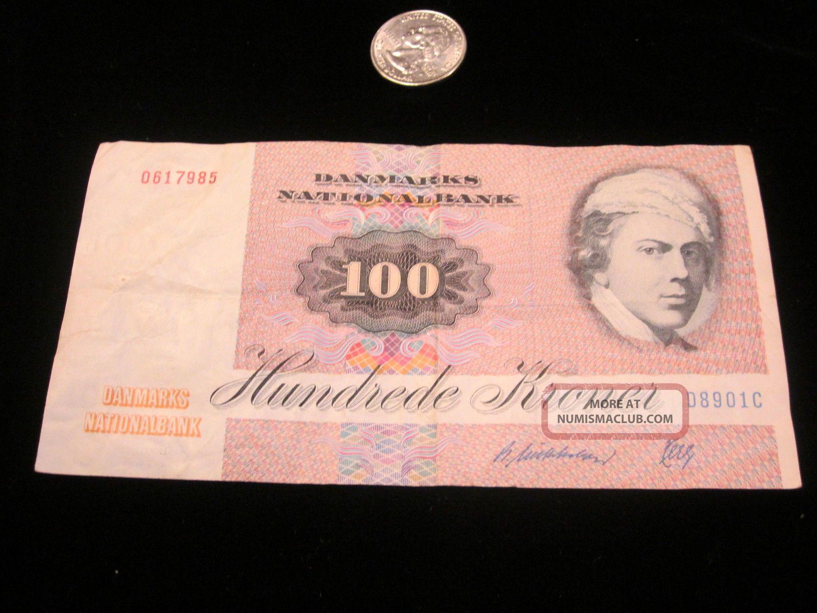 Denmark 100 Kroner P51 1986 Butterfly Unc Currency Money Bill Bank Note Europe photo