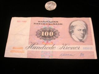 Denmark 100 Kroner P51 1986 Butterfly Unc Currency Money Bill Bank Note photo