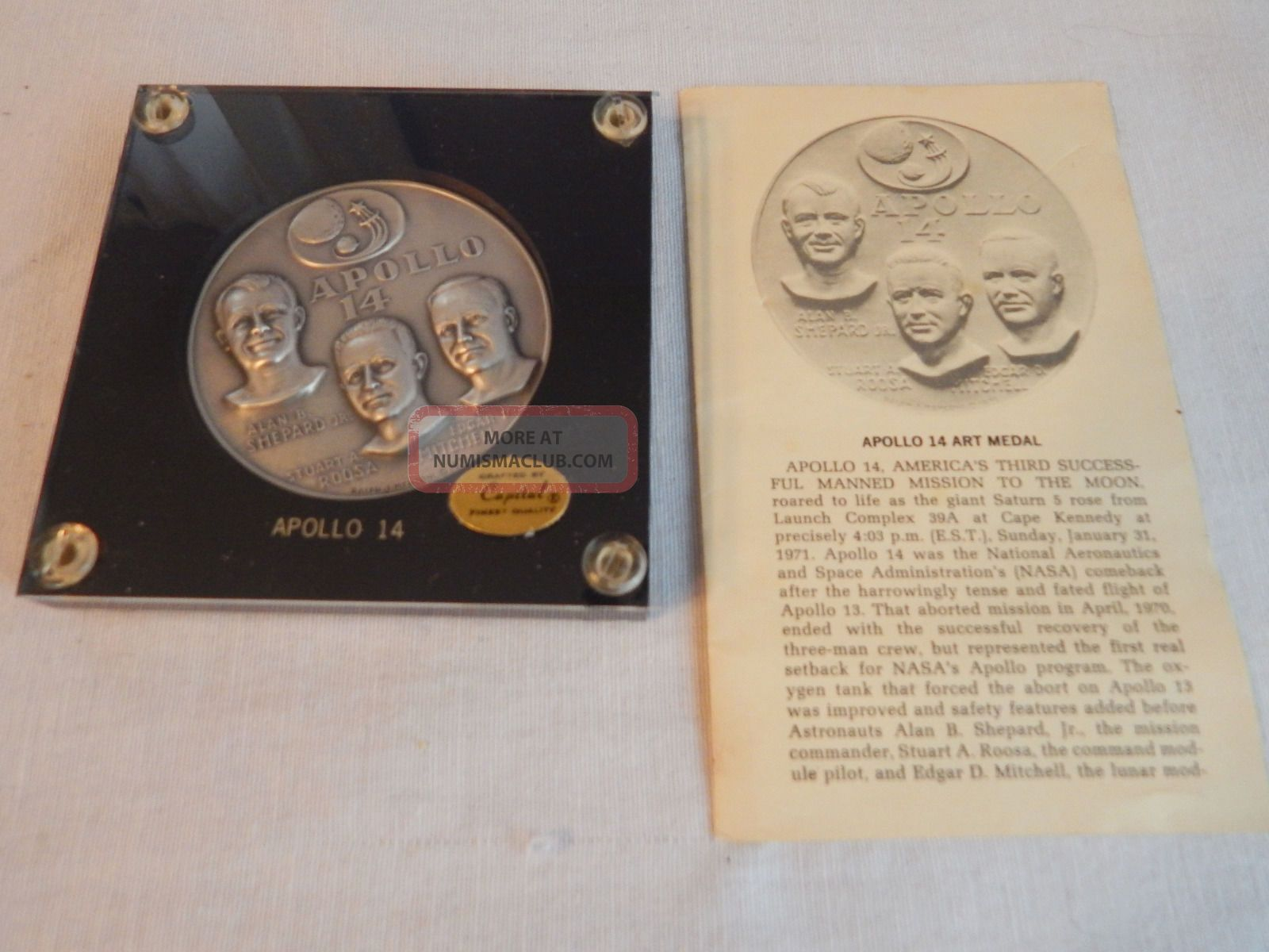 4.  67 - Ozs.  999 Fine Silver Apollo 14 Comemorative Medal Medallic Art Co. Exonumia photo