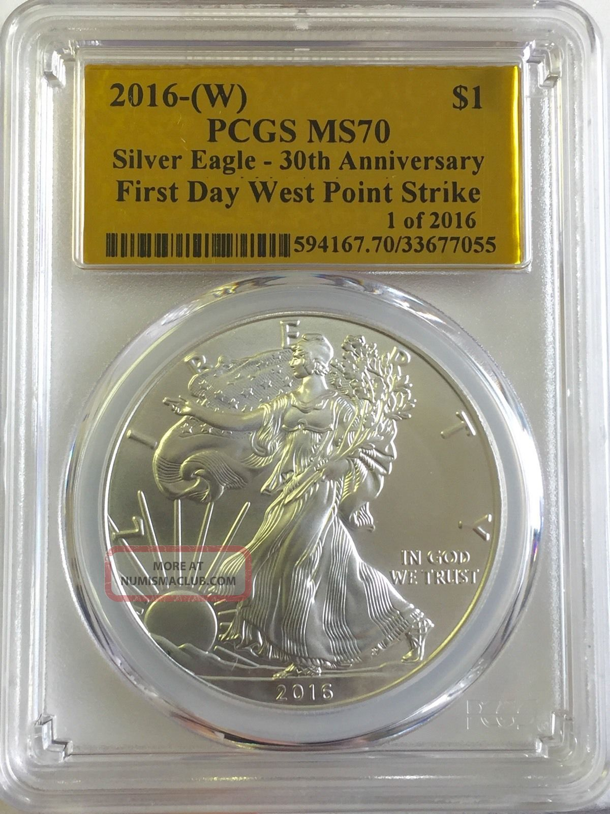 2016 1oz Silver Eagle First Day Of Issue Gold Foil 1 Of