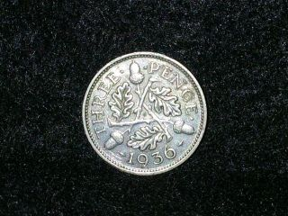 Xf 1936 Great Britain Three Pence Silver Coin photo