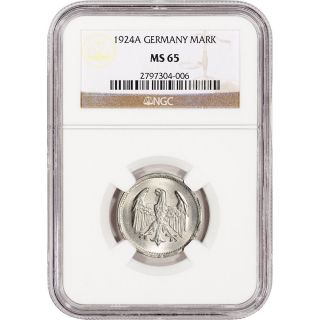 1924 A Germany Silver Mark - Ngc Ms65 photo