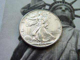 1938 D Walking Liberty Half Dollar Au - Bu photo