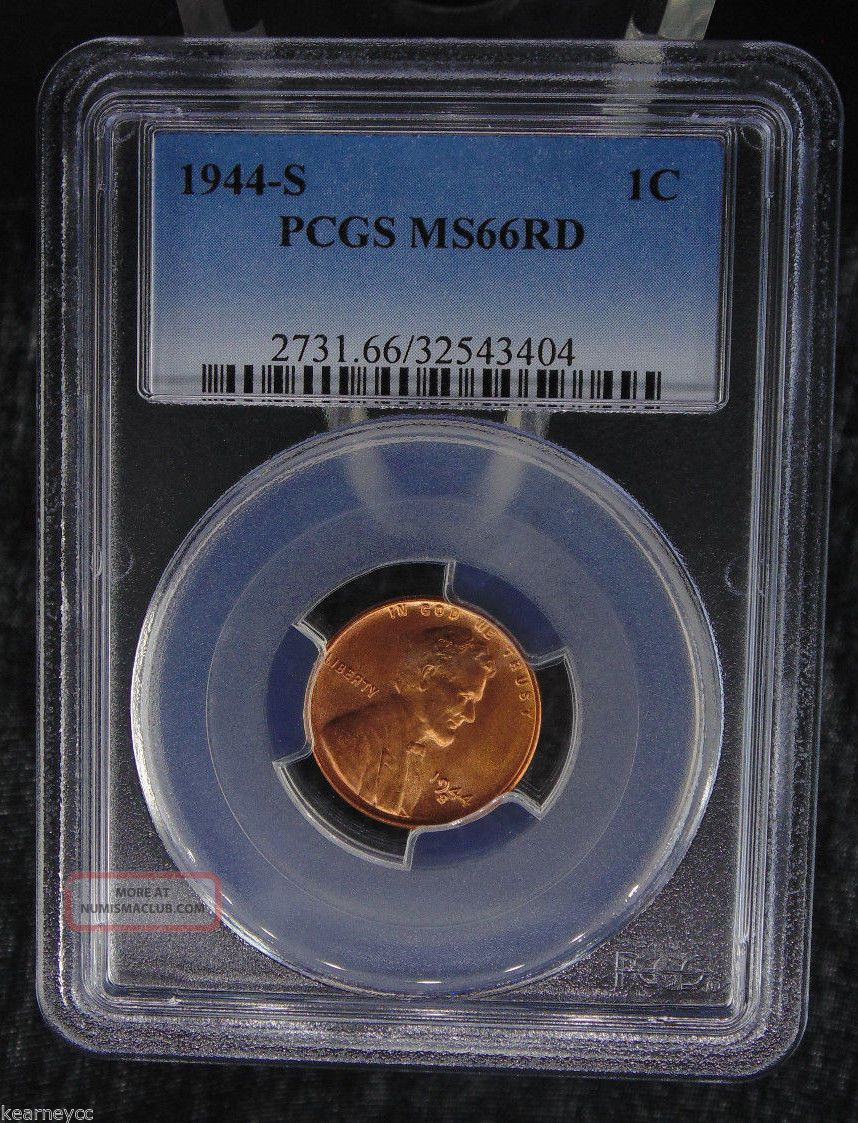 1944 S Lincoln Wheat Cent Penny Pcgs Certified Ms 66 Rd Red (404) Small Cents photo