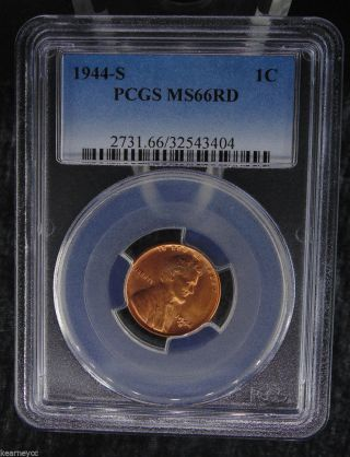 1944 S Lincoln Wheat Cent Penny Pcgs Certified Ms 66 Rd Red (404) photo