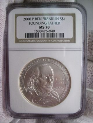 Perfect State 2006 - P Ben Franklin Silver Us Commemorative Dollar - Ngc Ms70 photo