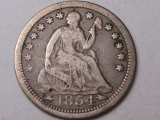1854 Silver Us Seated Liberty Half Dime.  (with Arrows).  14 photo