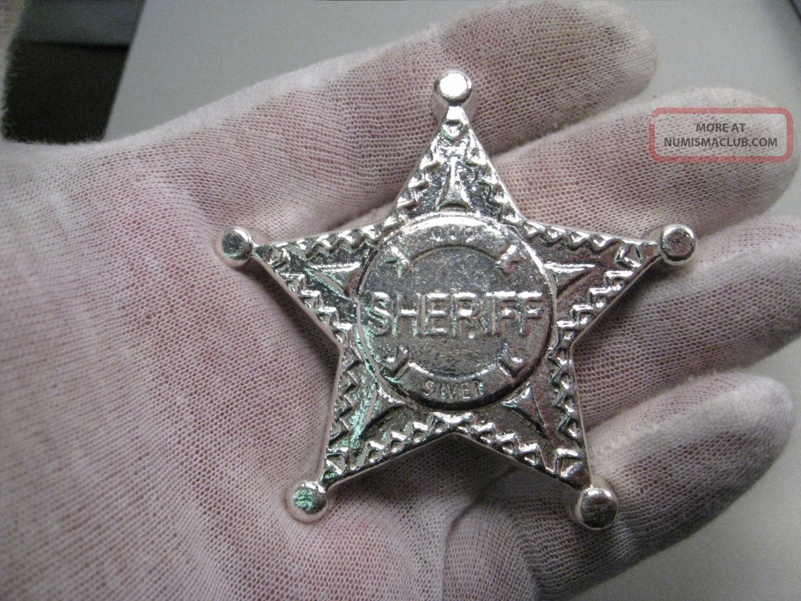 Mpm Monarch 5 Troy Oz 999 Silver Star Sheriff Badge 3d