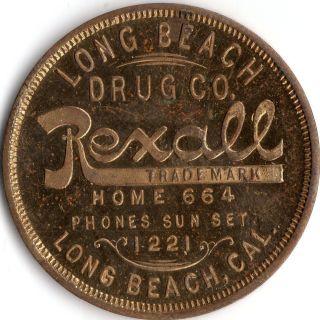 Long Beach California Long Beach Drug Company Merchant Good For Trade Token photo