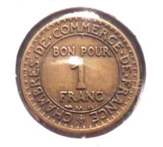 Circulated 1924 1 Franc French Coin @ photo