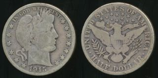 United States,  1915 - D Half Dollar,  Barber (silver) - Good photo