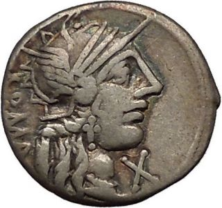 123bc Rome Roma Victory Chariot Authentic Ancient Silver Roman Coin I53565 photo