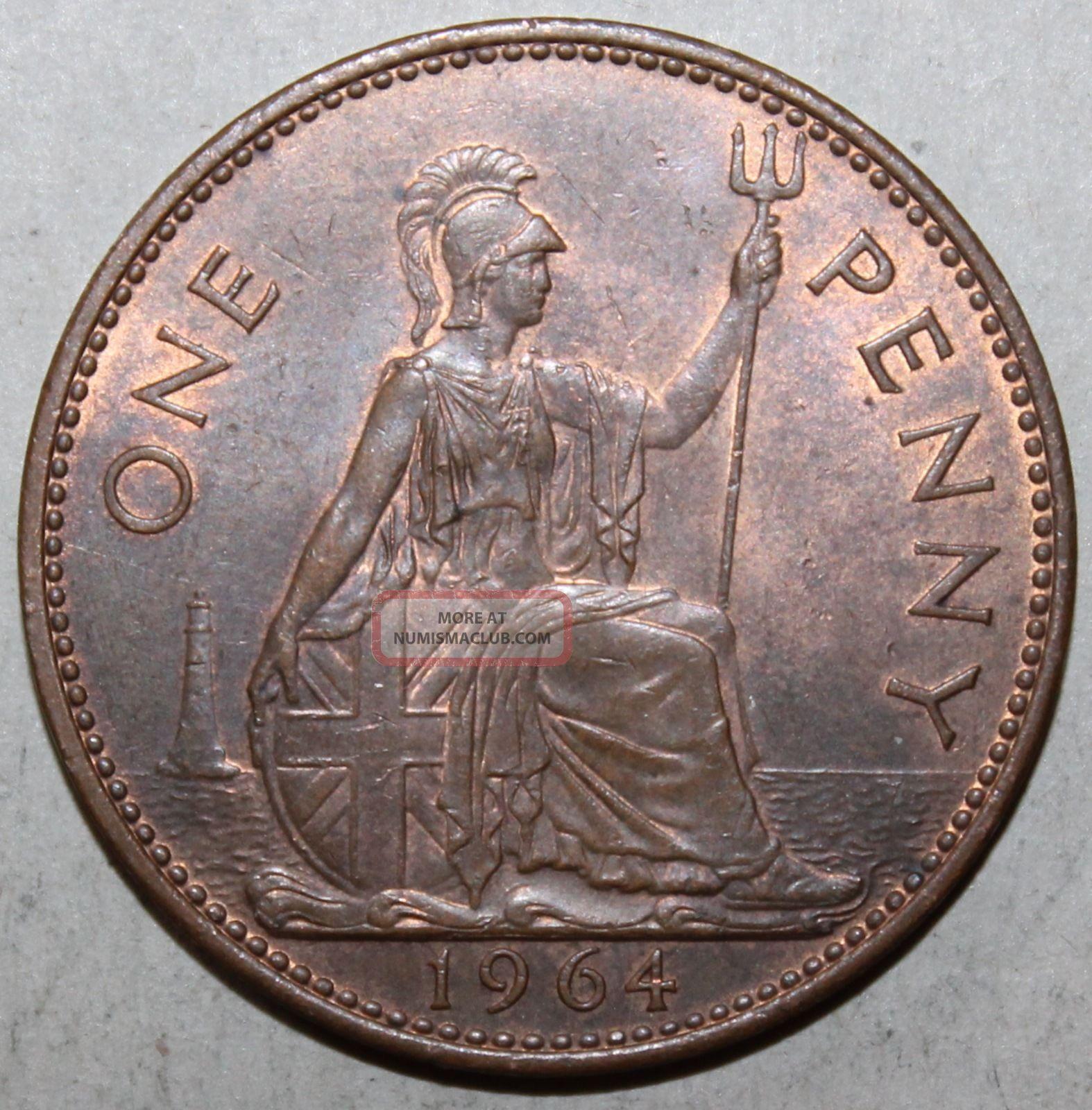British Large Penny Coin 1964 Km 897 Elizabeth Ii United Kingdom Britain Uk