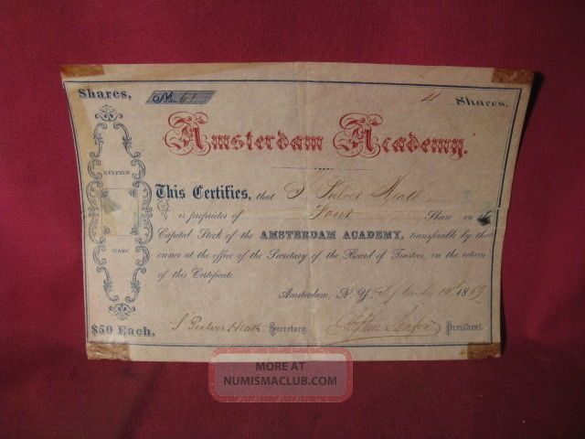 Rare 1869 Stock Certificate Amsterdam Academy Amsterdam York Stocks & Bonds, Scripophily photo