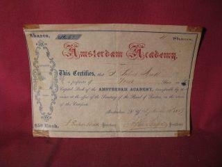 Rare 1869 Stock Certificate Amsterdam Academy Amsterdam York photo