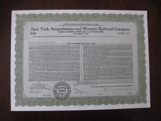 York Susquehanna And Western Railroad Company Unissued Income Bond 1191 photo