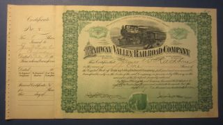 1907 Rahway Valley Railroad Co.  Stock Certificate - Signed Cole - Rathbone photo