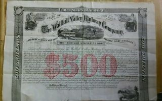 Rare 1868 $500 Wallkill Valle Railway Company First Mortgage Sinking Fund Bond. photo