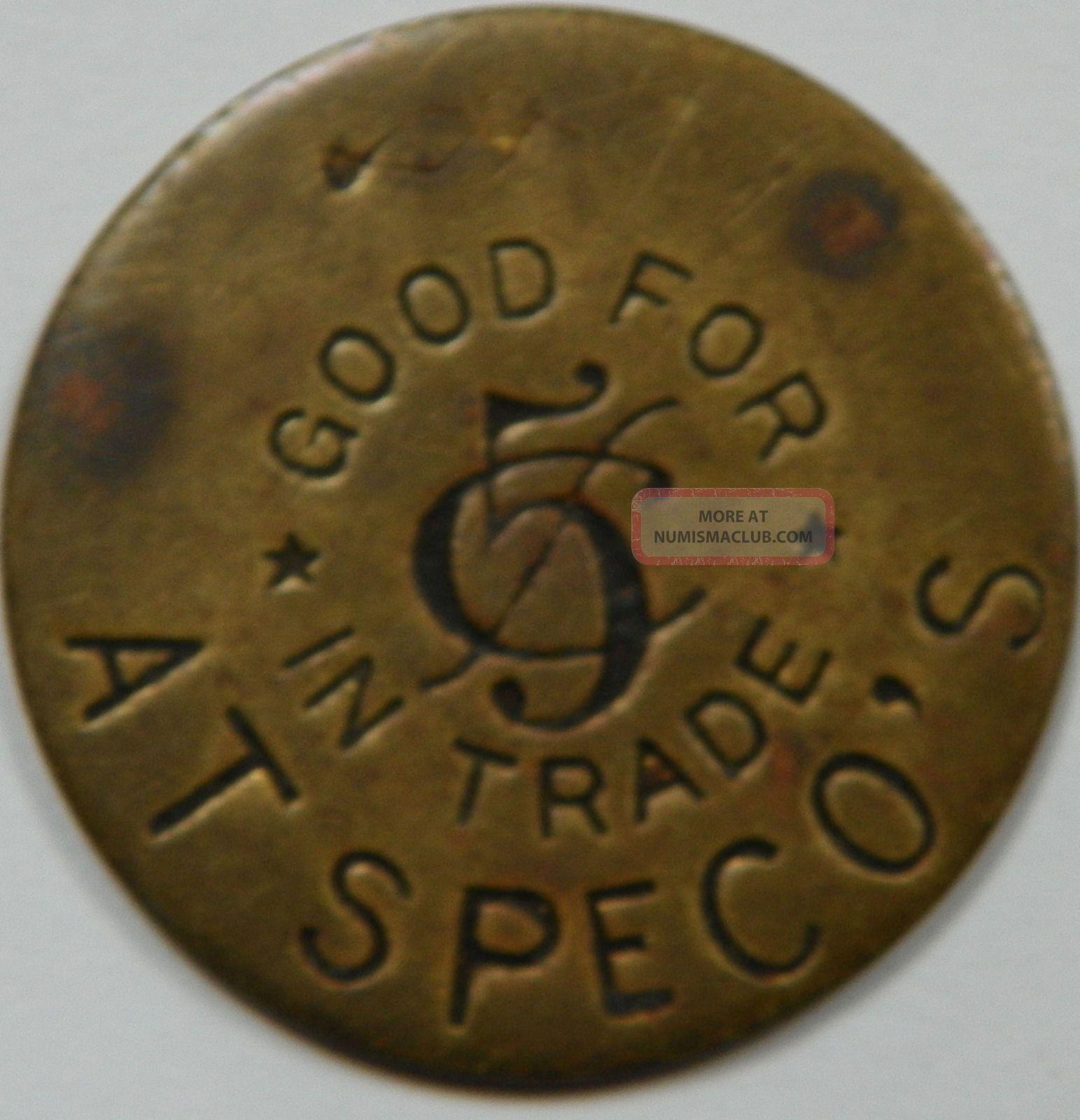 Speco ' S 5 Cent Good For Trade Token Rochester Hampshire Cigars Billiards Exonumia photo