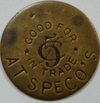 Speco ' S 5 Cent Good For Trade Token Rochester Hampshire Cigars Billiards photo