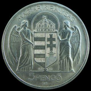 Hungary 1939 - 5 Pengo - Silver Coin - Miklos Horthy De Nagybanya photo