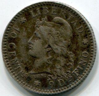 Argentina 10 Centavos 1883.  1/10 Patacon.  Silver photo