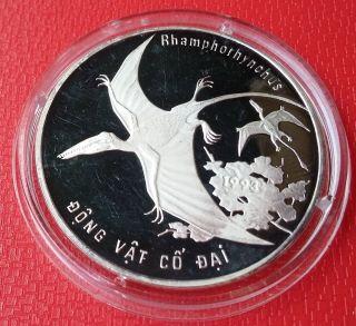 1993 Vietnam,  100 Dong,  Dinosaur,  Rhamphorhynchus,  Silver,  Km 42,  Scarce photo