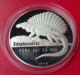 1994 Vietnam,  100 Dong,  Dinosaur,  Edaphosaurus,  Silver,  Km 45,  Rare photo