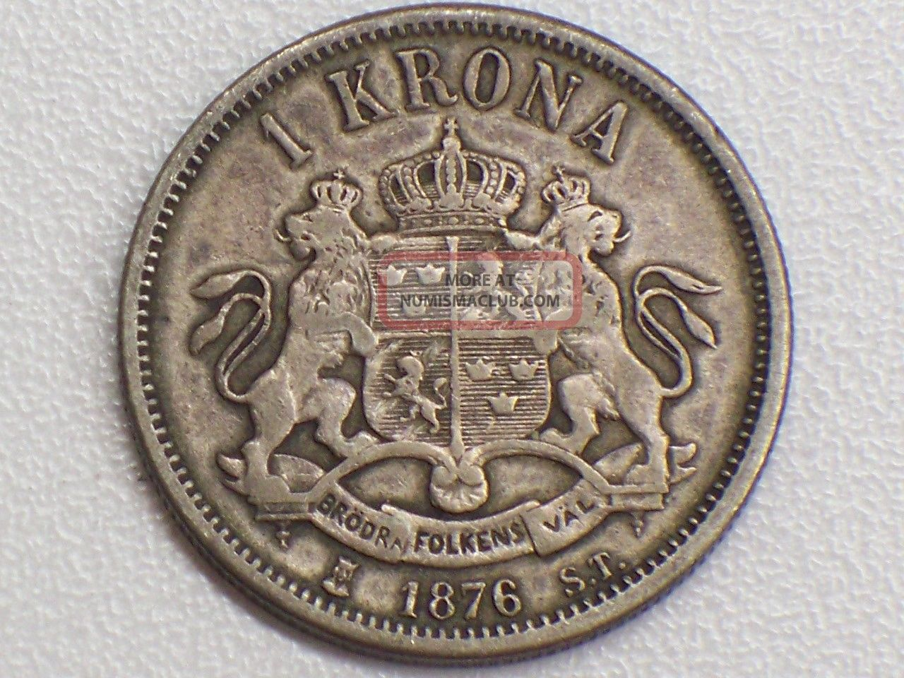 Sweden 1 Krona 1876 St Silver Coin