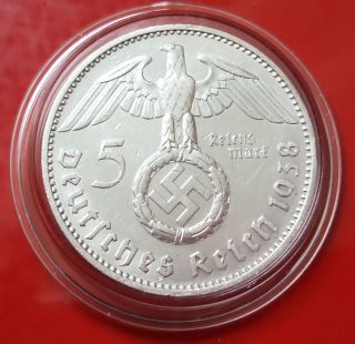 5 Mark 1938 F Reichsmark Km 94 Third Reich Germany 90 Silver Coin Capsuled photo