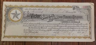 100 Shares - The Victor Bonding,  Leasing And Mining Company,  Stock No.  109 photo
