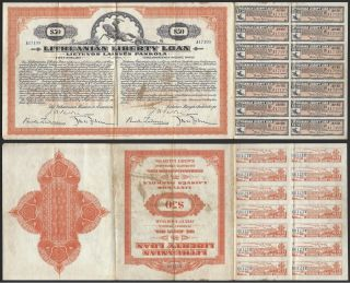 Lithuanian Liberty Loan Certificate 1920 50 Dollars 5 Interest/year 901 photo