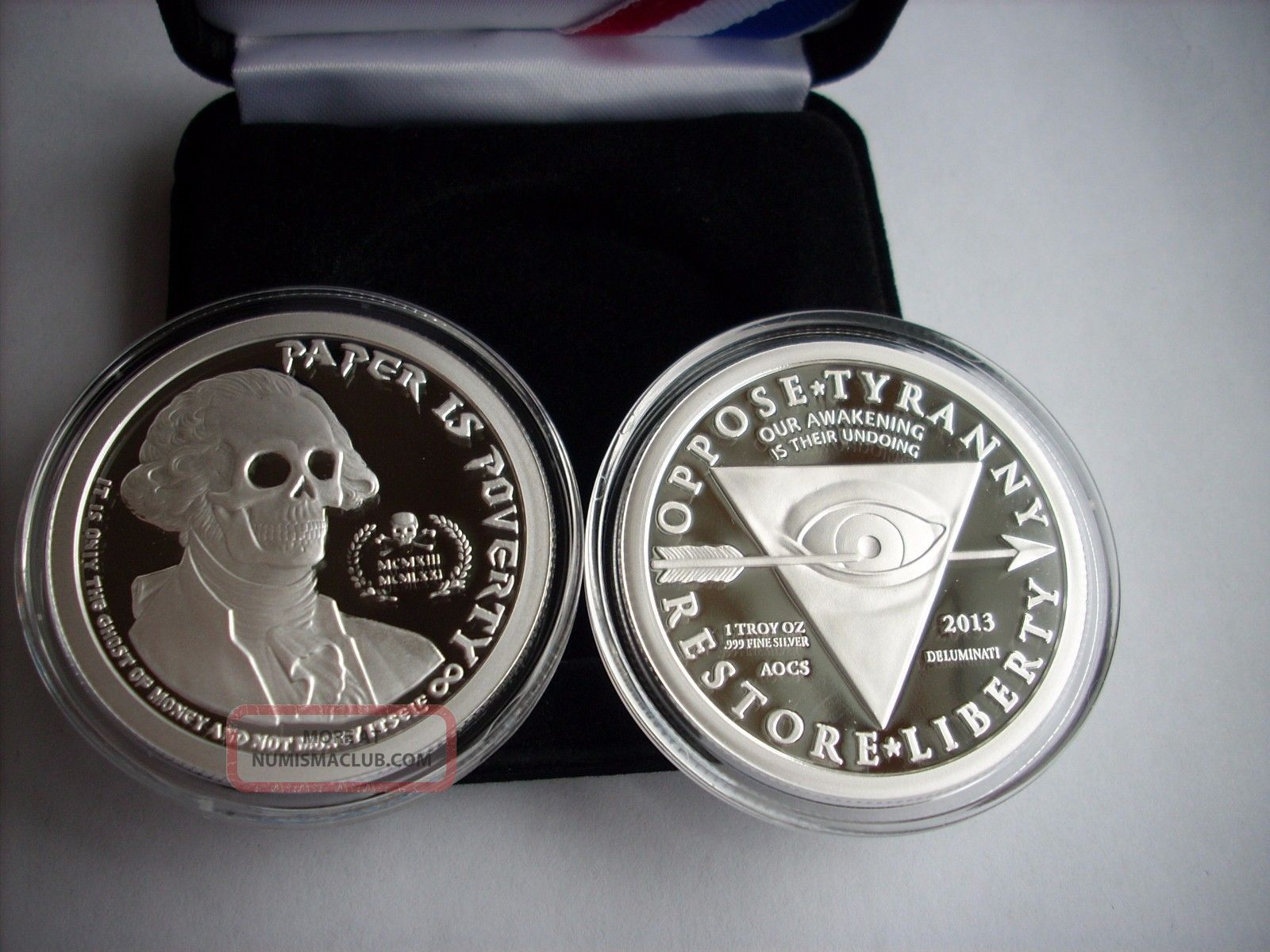 1 Oz Silver Coin Proof Ghost Money Deluminati Series
