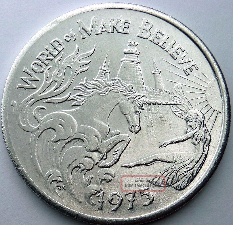 Unicorn/fairy Token - World Of Make Believe - 1975 Atlas Plain Aluminum Doubloon Exonumia photo