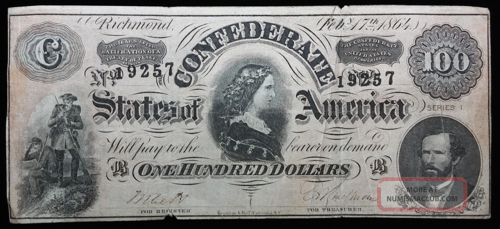 1864 $100 Dollar Confederate Bill Note Paper Currency Civil War Money Paper Money: US photo
