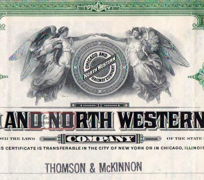 Rare Green Chicago & North Western Railway Company Stock Certificate Railroad Transportation photo