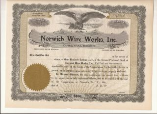 Old 1920 - Norwich Wire,  Inc.  - Stock Certificate - Norwich,  N.  Y. photo