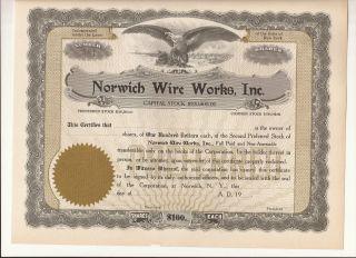 Old 1920 - Norwich Wire,  Inc.  - Stock Certificate - Norwich,  N.  Y. photo