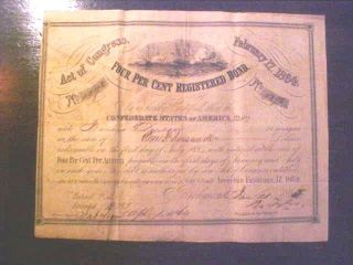 Rare 1864 Richmond Va Confederate $1000 Civil War Bond 4 Robert Tyler Cwb1 photo