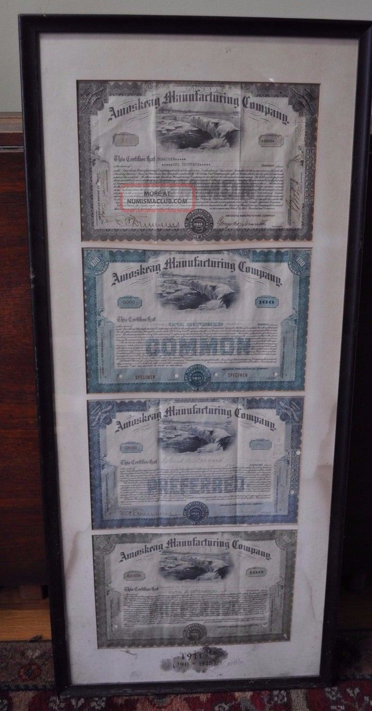 Amoskeag Manufacturing Co 1911 - 1925 Stock Certificate Textile 3 Framed Antique Stocks & Bonds, Scripophily photo
